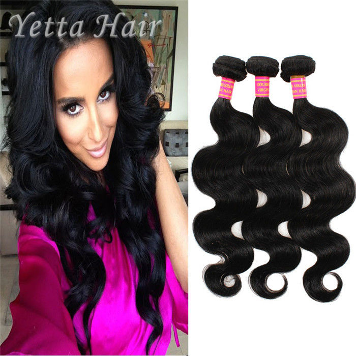 Natural Color 6A Virgin Hair Indian Body Wave Hair Extensions Large Stock