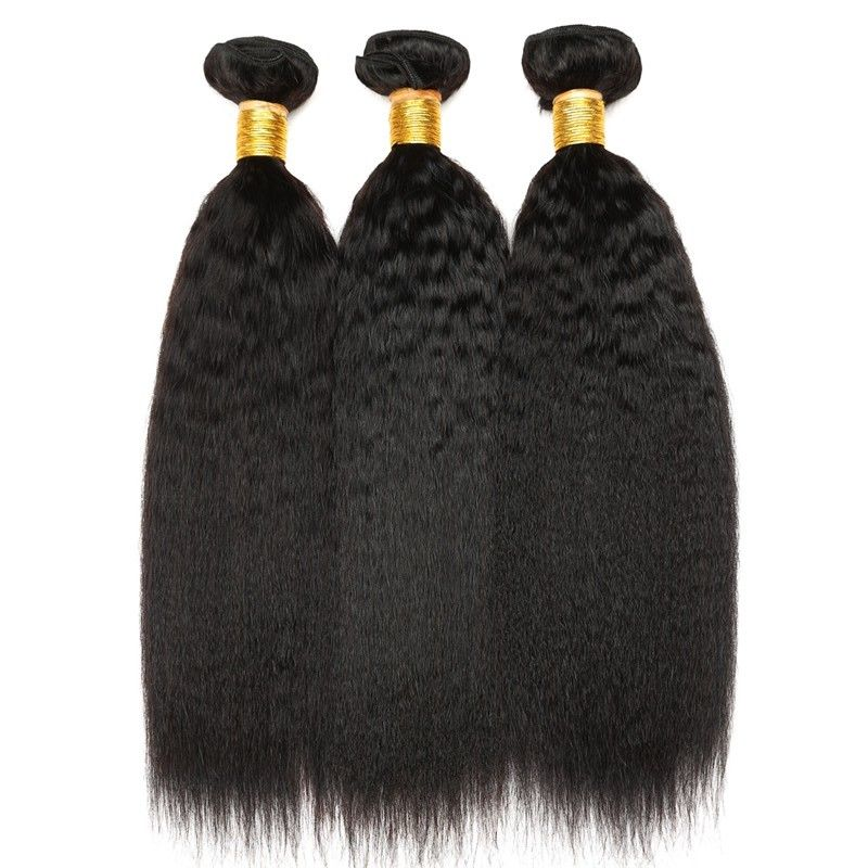 Kinky Straight Natural Color 100 Indian Remy Human Hair Weave For Lady
